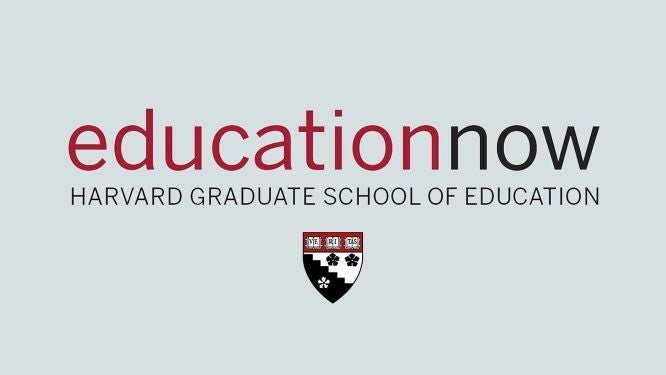Education Now logo and HGSE shield