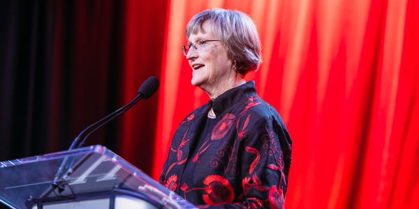 Drew Gilpin Faust delivers remarks at The Harvard Campaign closing celebration in April 2018.