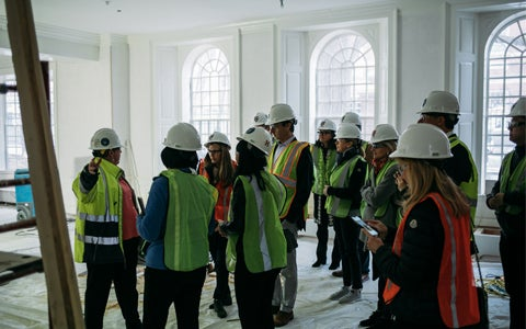 Parent Partners get a sneak peek of renovated Lowell House with a private hardhat tour
