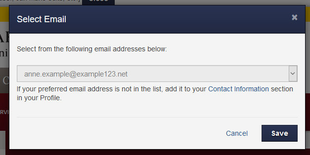 Select A Different Email Address