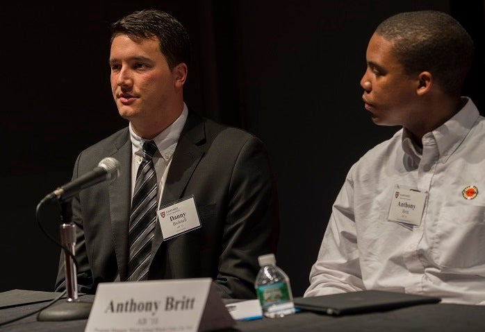Danny Bicknell AB '13, Anthony Britt AB '10 (Lunch Panel with Recent Alumni)