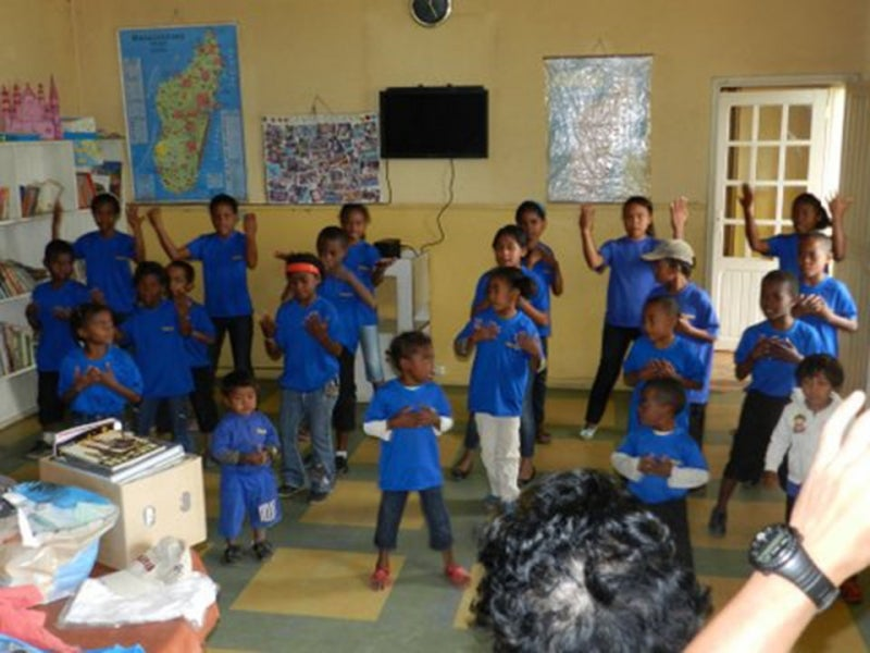 Students dancing at the FAZAKO orphanage/school.