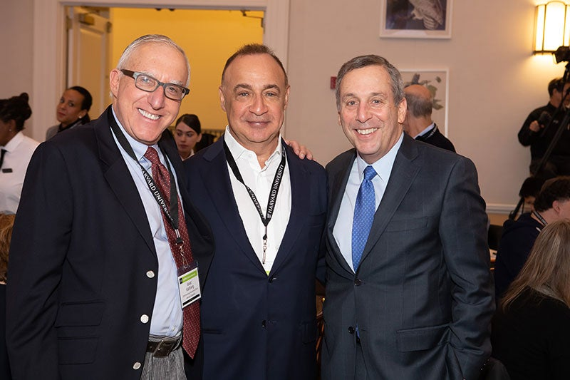 Len Blavatnik with President Larry Bacow and Isaac Kolhberg
