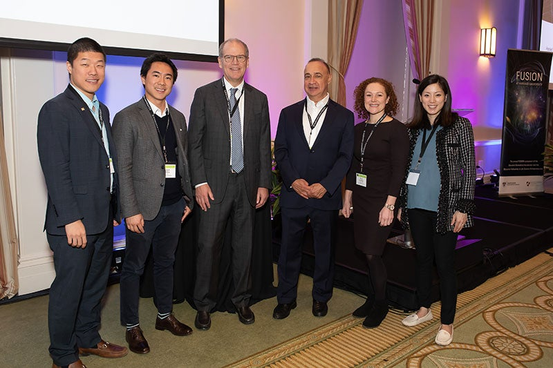 Len Blavatnik and Peter Barrett with 2018–19 Blavatnik Fellows in Life Science Entrepreneurship