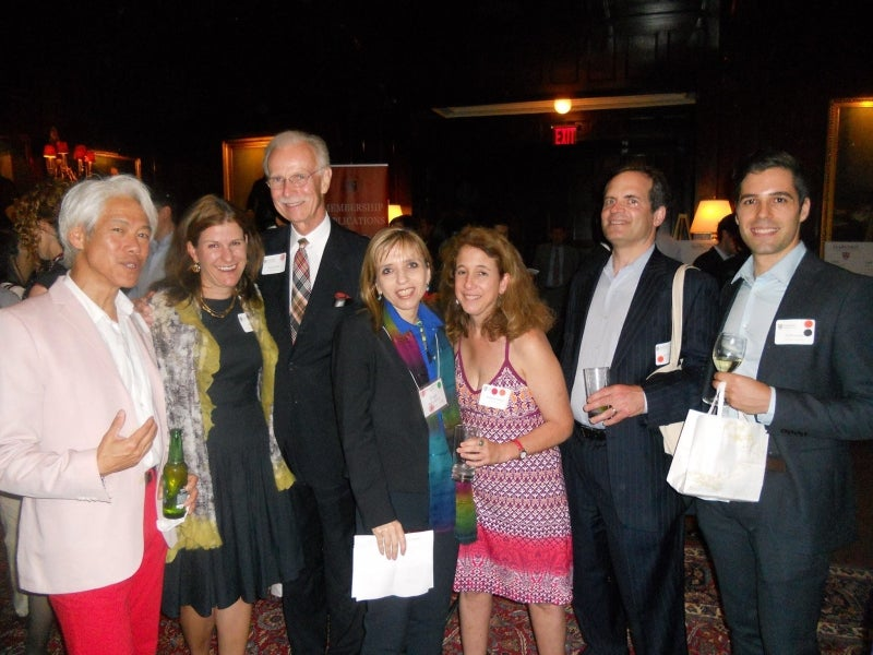 GNN attendees, including former HAA president Kate Gellert AB '93 (2nd from left) at the Harvard Club of New York.