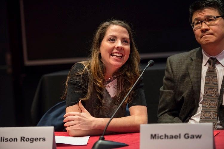 Alison Rogers AB '04, EDM '08, speaks at the alumni program.