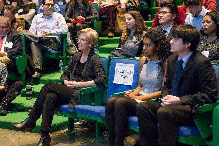 Senator Elizabeth Warren before her keynote address.