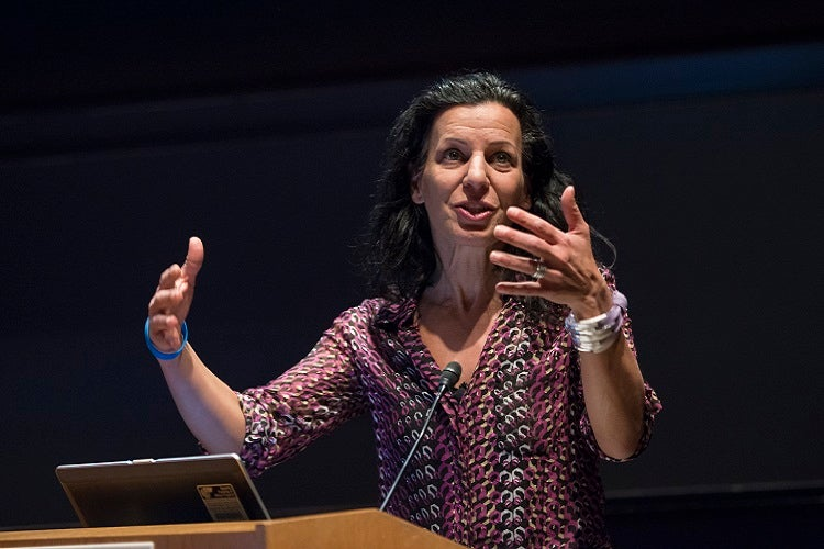 Juliette Kayyem AB '91, JD '95 introduces the Alumni Think Big presentations.