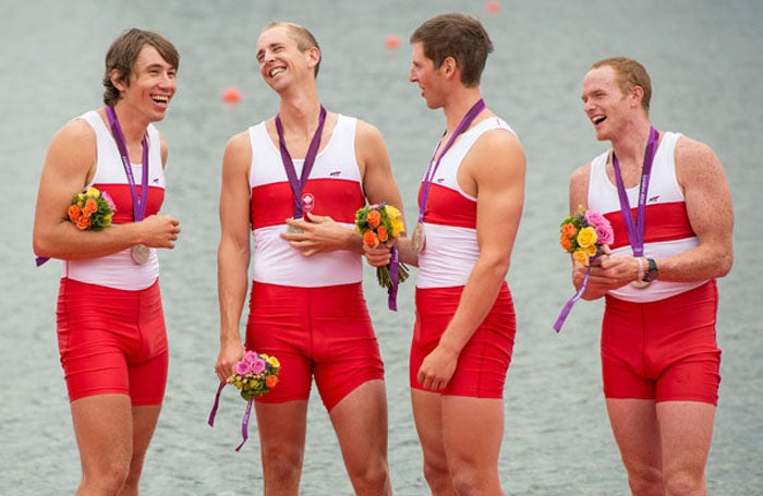 Canada's Malcolm Howard '05 (left) won rowing silver in the men's eight.