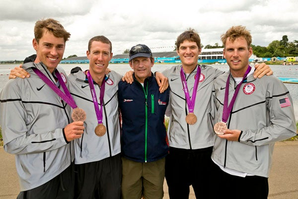 Rower Henrik Rummel '09 (second from right) won bronze in the men's four.