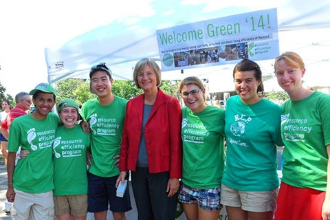 Drew Faust with REP volunteers