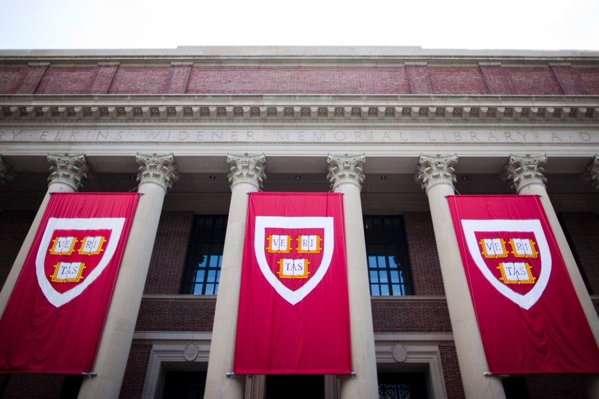 Widener Library with Harvard banners