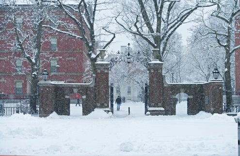 Harvard College in winter.