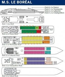 <em>Le Boréal</em> Deck Plan