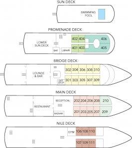 Nile Adventurer Deck Plan