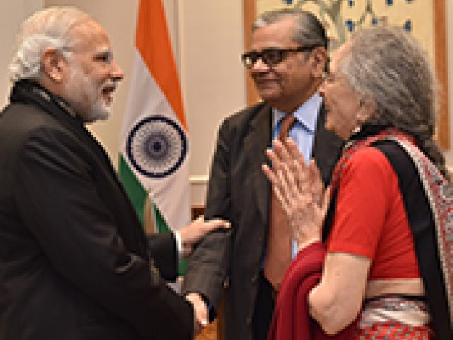 Professor Padma Desai PhD '60 and Professor Jagdish Bhagwati