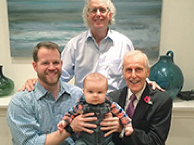 Robert James MBA '48, PhD '53 and Ralph James MBA '82 with members of their family.