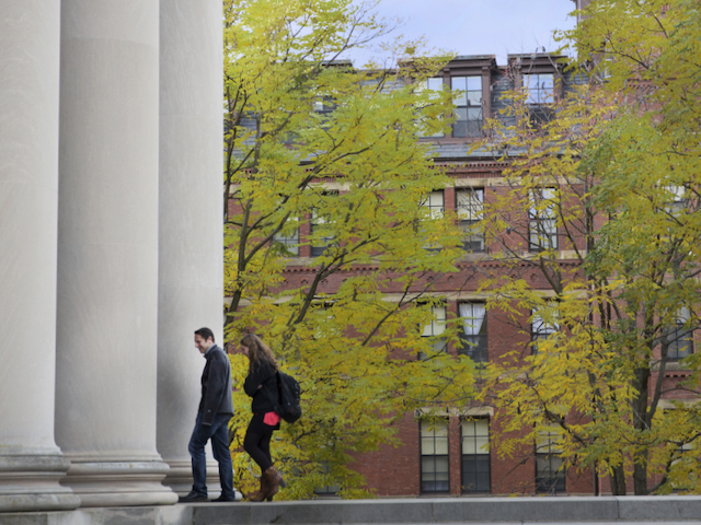 Two students on the Harvard University campus