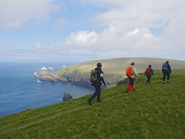 Hikers in the Orkney and Shetland islands