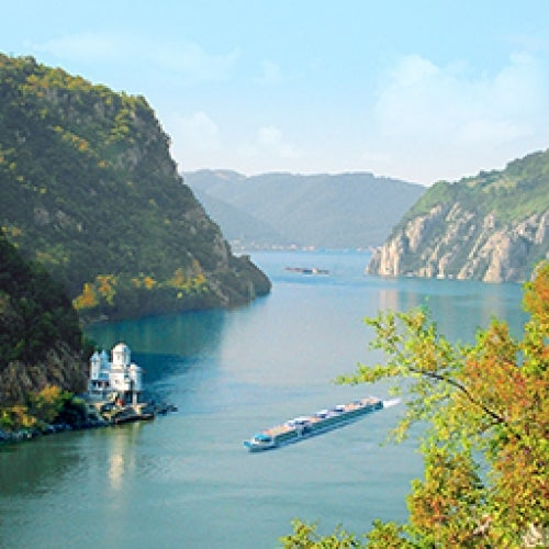 Danube River with riverboat near Iron Gate
