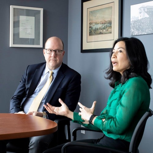 Harvard Alumni Association Executive Director Philip Lovejoy and former Overseer Tracy Palandjian