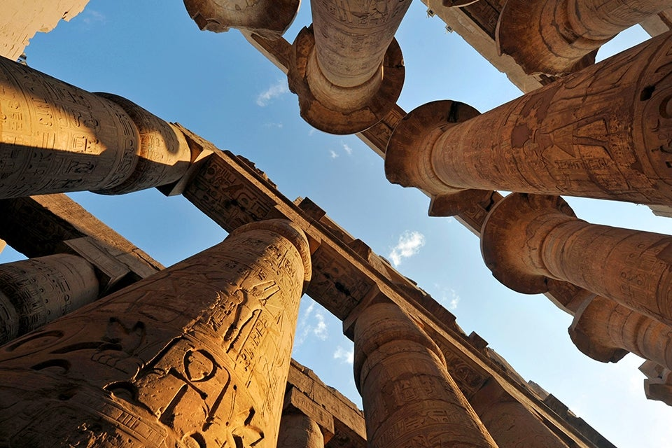 bottom view of columns in Luxor