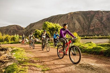 Biking on Lares Trek