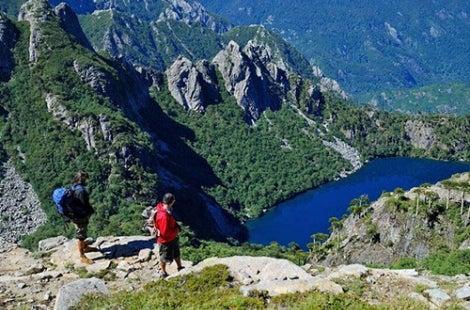Lake and hikers